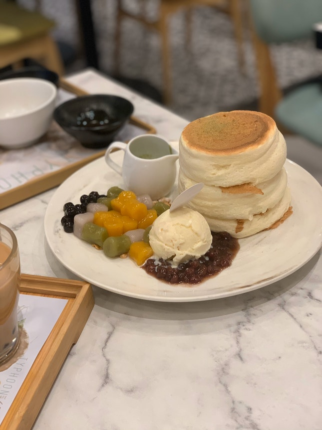 Soufflé Stackers With Taro, Bubble, Red Bean Topped With Green Tea Sauce