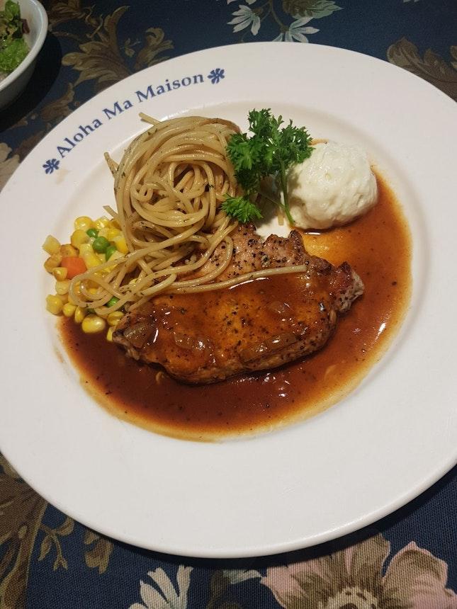 Pork Steak With Garlic Sauce