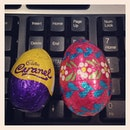 #colourful #eastereggs on the desk at #workstation in the morning #thankyouboss #happyeaster #instafood #foodporn #instachocolates #happyholiday #folks