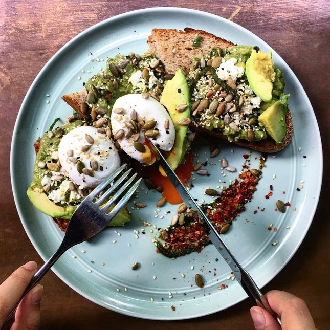 Avocado Toast With Poached Eggs ($22)