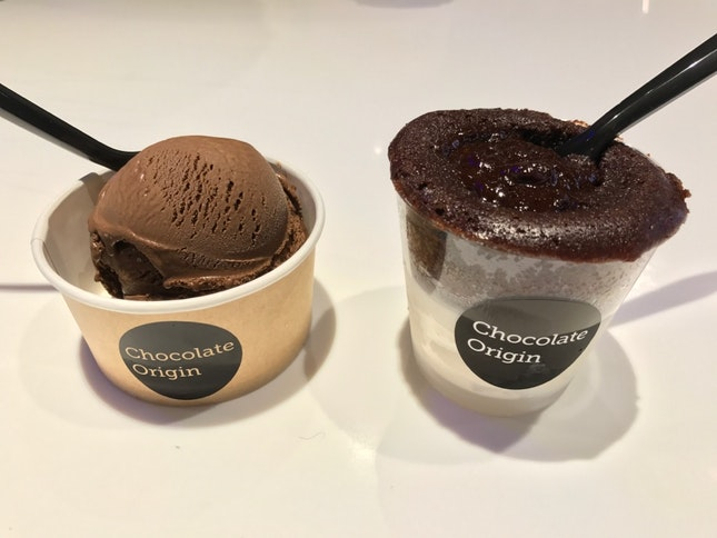 Left: Dark Gelato. Right: Cuppa Lava Cake