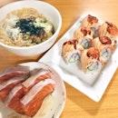 Salmon Sashimi, Unatama Don, Salmon Mentai Maki