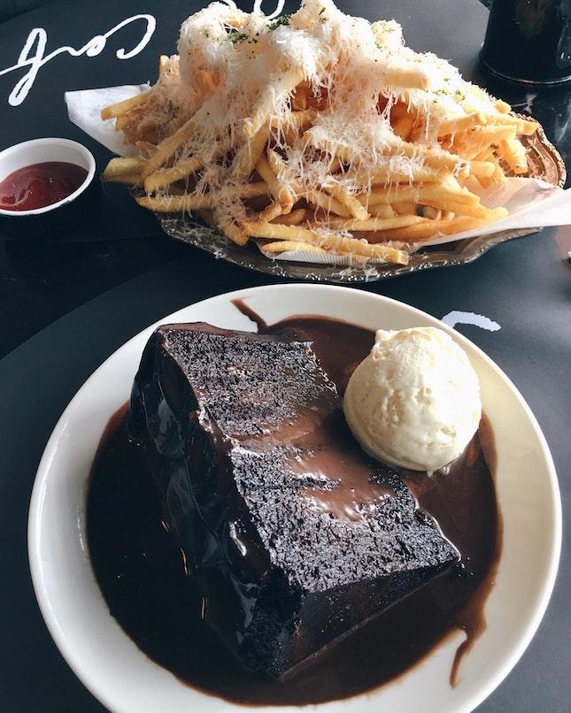 Truffle Fries, Double Chocolate Blackout Cake