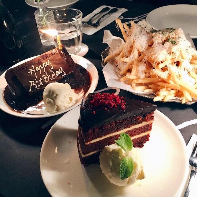 Red Velvet Cake, Double Chocolate Blackout Cake, Truffle Fries