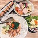 Kaisen Chirashi, Aburi Salmon Mentai, Soft Shell Crab Salmon Aburi, Potato Salads