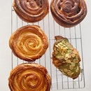 Kouign Amann, Green Tea Almond Croissant, Raisin Danish