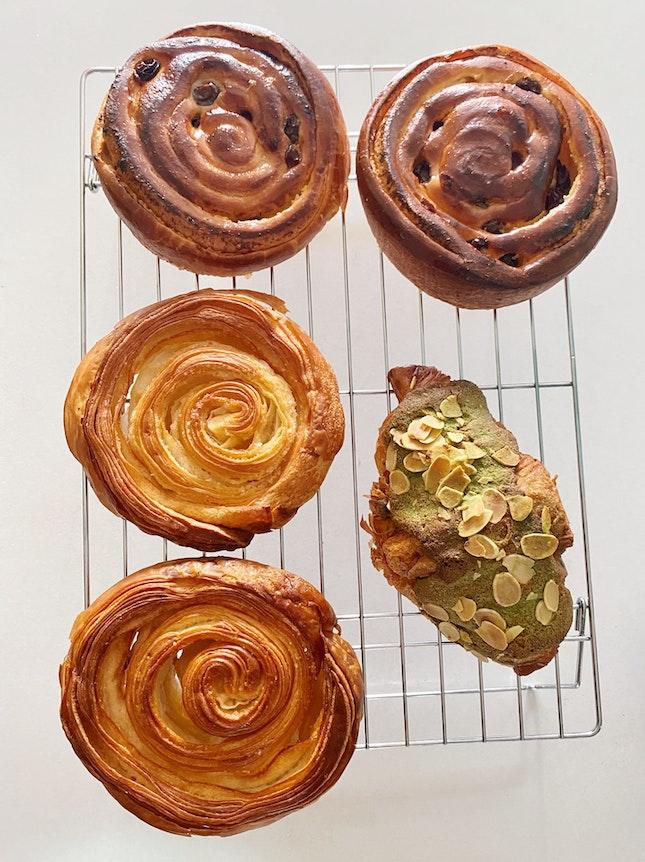 Kouign Amann, Green Tea Almond Croissant, Raisin Danish