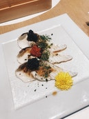 Aburi Kampachi Belly Topped With Caviar And Salmon Roe