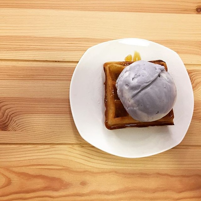 Taro Yam and Coconut Cream Ice-Cream on Mini Buttermilk Waffle with Maple Syrup @ Ice-Cream Man And Friends, 399 Yung Sheng Road.