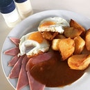 Ham, Eggs & Chips, Pork Chop, Chips & Mushrooms and Fried Bananas with Honey @ Colbar, 9A Whitechurch Road.