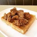 Fried Chicken & Waffle, Waffle Ala-mode, Mashed Potatoes & Fruits Salad @ Waffletown, 271 Bukit Timah Road, Balmoral Plaza #01-08.