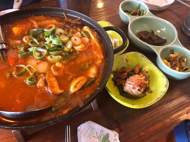 Kimchi Stew + Pancake + Fried Chicken Set