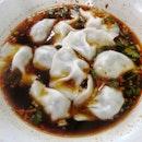 Pork chive dumpling in spicy soup(10 pcs)($5)🤨