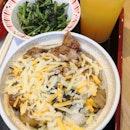 Triple Cheese Yakitori Bowl(M-$7.50) plus Green Vege Combo(+$2.00)