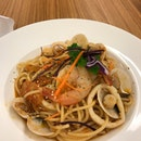 Tom Yum seafood Pasta ($10)