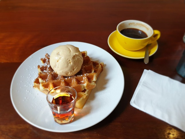 Waffles with salted caramel ice cream