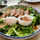Chicken Salad With Poached Eggs