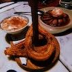 Churros with Tiramisu Foam ($8++); Pera Al Vino ($12++)