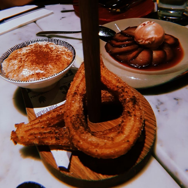 Churros with Tiramisu Foam ($8++); Pera Al Vino ($12++)