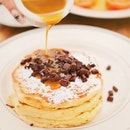 Pancakes with Warm Maple Butter and Chocolate Chunks [$19++]