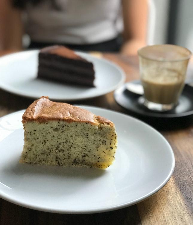 Earl Grey Tea Cake ($7.50), Chocolate Truffle Cake ($7.50)
