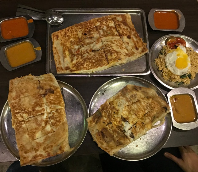Ultimate Murtabak ($12.90), Umami-50 ($8.90), Salted Egg Prawn Prata ($10.90)