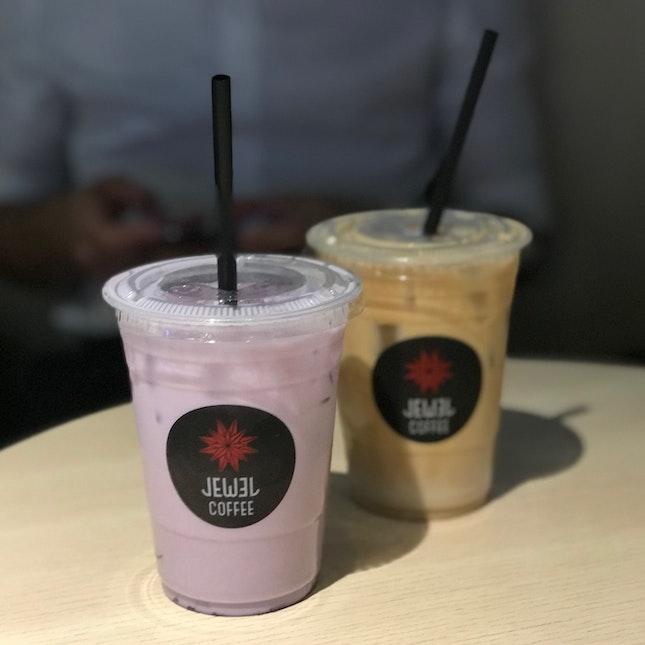 Iced Taro Latte ($7.30), Iced Latte ($7.50)
