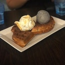 Crispy Quaffles ($5.50) + Single Scoop (Milk & Honey) ($3.50) + Special Gelato (Black Goma) ($6) ($15 Total)