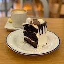 Belgian Darkforest Chocolate ($7.50), Caffe Latte (Hot)