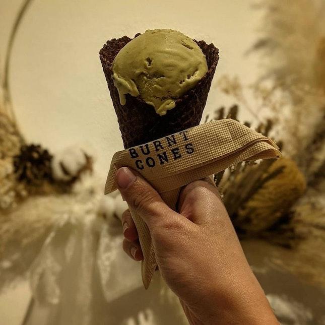 Pistachio Ice-cream w/ Burnt Cone