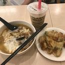 Mushroom Noodles + Chicken Floss Snack + Honey Milk Tea ($17.70)