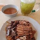 Duck rice ($3) + gian ($0.50) + sugarcane ($1.20)!