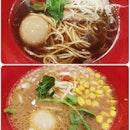 Ajitama shoyu soba ($16.80) and Ajitama miso soba ($17.80) .
