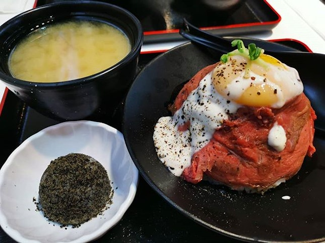 Signature wagyu roast beef don (R: $10+) & top up ($2+) miso soup and mochi for set!