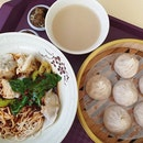 Pork dumpling noodles ($4) & Xiao long bao ($4.50)!