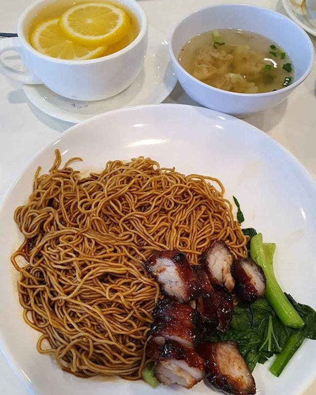 Dry wanton mee with char siew and wanton (RM$8.30+) & Hot honey lemon (RM$3.60+)!