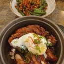 Ultimate char siew and crispy kurobuta pork claypot rice ($23++) & French beans with minced pork and sakura ebi ($12++)!