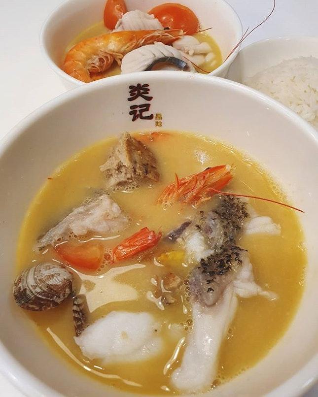Giant grouper soup ($16); Batang soup ($14); Rice ($1)!