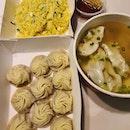 Egg fried rice, Xiao long bao, Prawn wanton soup ($29)!
