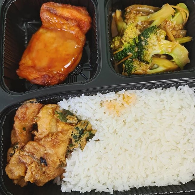 Stir fried chicken with plum paste & tomato sauce; Coriander fried fish; Broccoli with garlic; Rice ($5.20)!