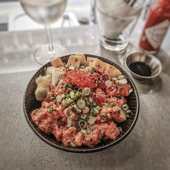 1/2 Bara Chirashi 1/2 Spicy Salmon Don ($17.90)
