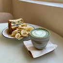 Matcha Latte & Mushroom Grilled Cheese