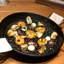 Black Mediterranean Squid Ink w Prawns & Squid ($30++)
