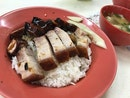 Char Siew Roast Pork Rice with Dumpling Soup