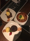 Mediocre tapas, great dessert.