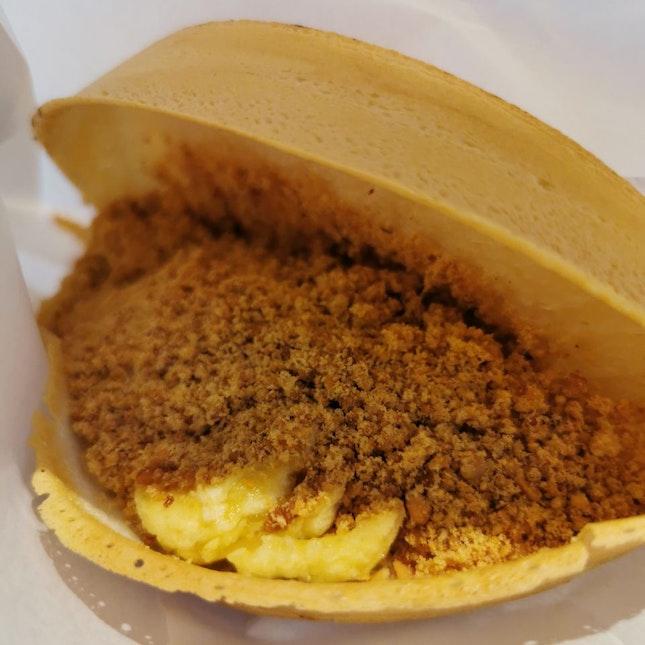 Banana & peanut thin crust pancake