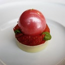 Strawberry and Lime sugar sphere .