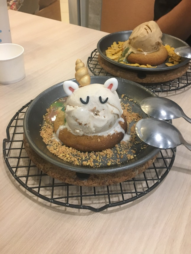 Unicorn Molten Cookie With Rainbow Lava