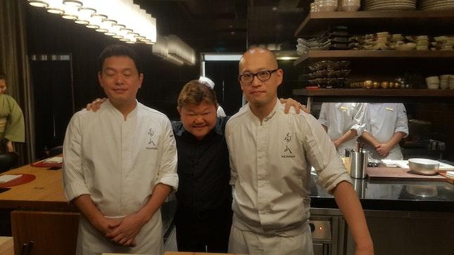 Chefs Shigeru Akashi, Justin Quek, and Taro Takayama