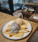 COTTONTAIL CREAMERY, BLACK SESAME SINGLE MALT WHISKY, SINGLE ORIGIN COFFEE, CREPE  Back at the cottontail creamery to satisfies some ice cream cravings and one flavour stood out among the rest.